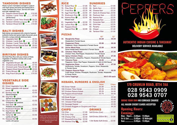 Peppers Indian Cuisine Takeaway Belfast Indian